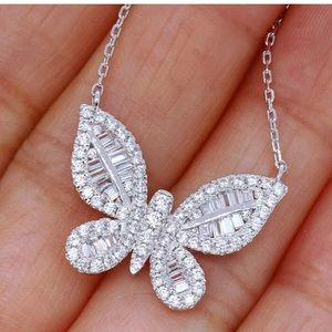 NEW!! 925 silver white sapphire butterfly necklace
